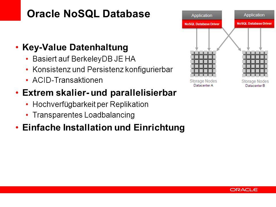 Oracle NoSQL Database Key-Value Datenhaltung Basiert auf BerkeleyDB JE HA Konsistenz und Persistenz konfigurierbar ACID-Transaktionen Extrem skalier-