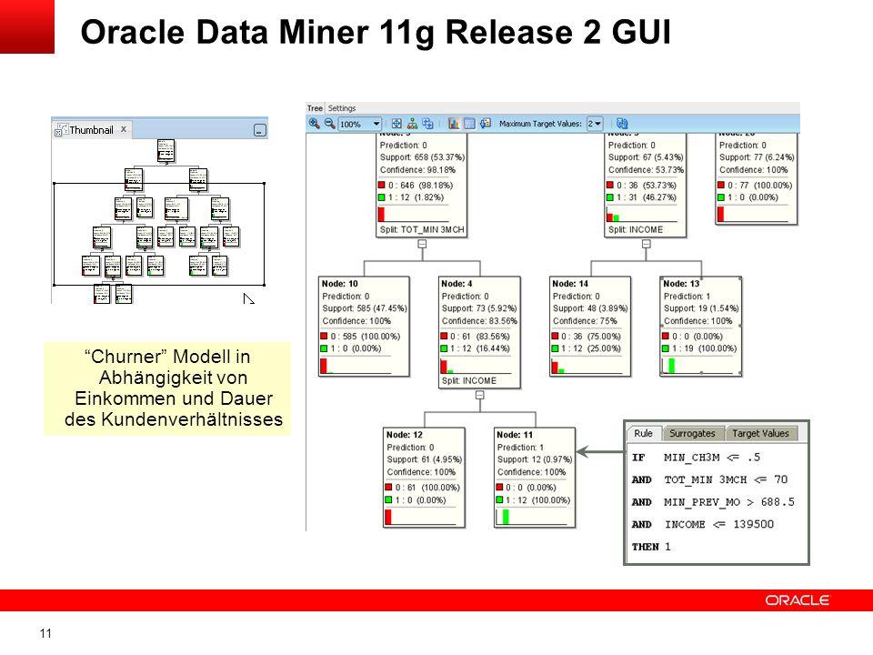 11 Oracle Data Miner 11g Release 2 GUI Churner Modell in Abhängigkeit von Einkommen und Dauer des Kundenverhältnisses