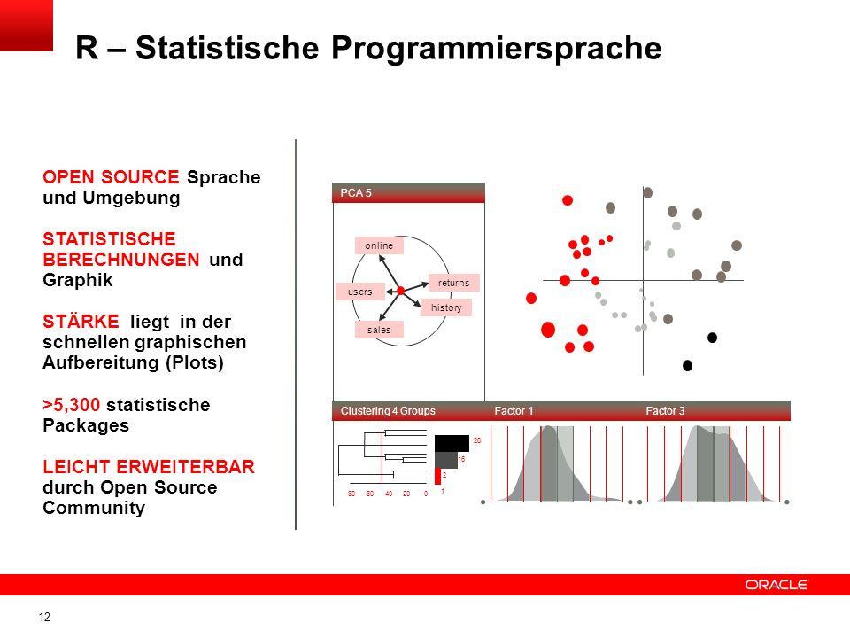 12 R – Statistische Programmiersprache users sales history returns online PCA 5 Factor 3Factor 1Clustering 4 Groups 28 16 2 1 806040200