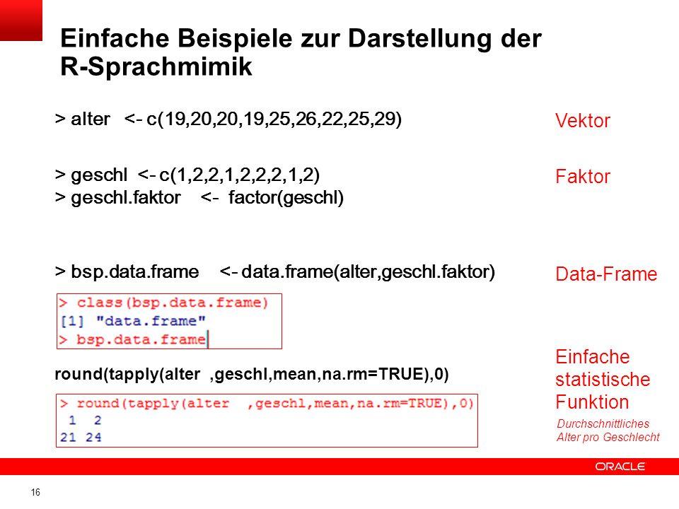 16 > alter <- c(19,20,20,19,25,26,22,25,29) > geschl <- c(1,2,2,1,2,2,2,1,2) > geschl.faktor <- factor(geschl) Vektor Faktor > bsp.data.frame <- data.frame(alter,geschl.faktor) Data-Frame round(tapply(alter,geschl,mean,na.rm=TRUE),0) Einfache Beispiele zur Darstellung der R-Sprachmimik Einfache statistische Funktion Durchschnittliches Alter pro Geschlecht