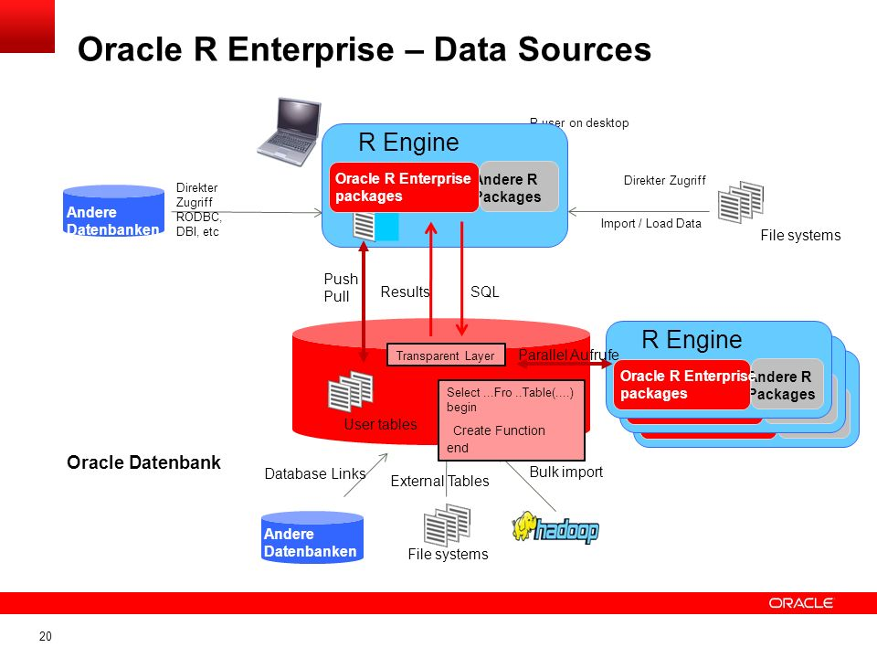 20 Oracle R Enterprise – Data Sources User tables Oracle Datenbank Bulk import File systems Database Links SQLResults R user on desktop External Table