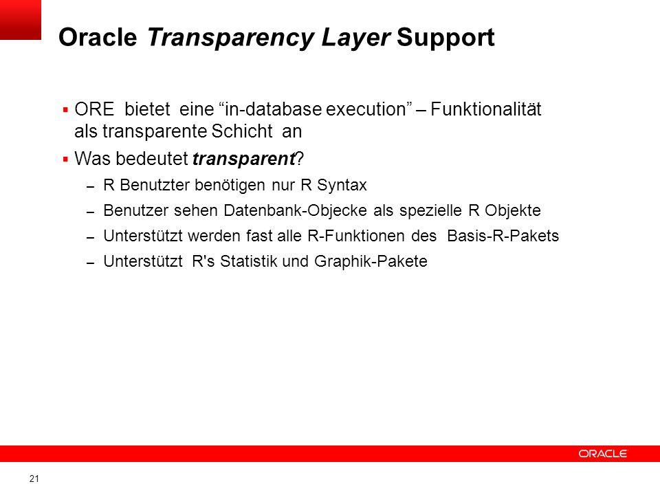 21 ORE bietet eine in-database execution – Funktionalität als transparente Schicht an Was bedeutet transparent.