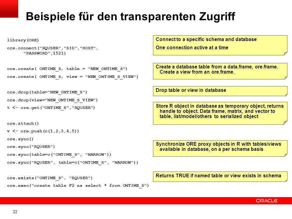 22 Beispiele für den transparenten Zugriff Connect to a specific schema and database One connection active at a time Create a database table from a da