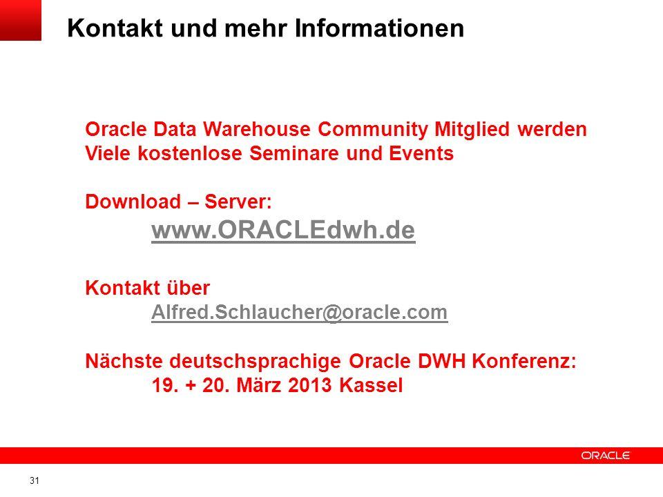 31 Kontakt und mehr Informationen Oracle Data Warehouse Community Mitglied werden Viele kostenlose Seminare und Events Download – Server: www.ORACLEdwh.de Kontakt über Alfred.Schlaucher@oracle.com Nächste deutschsprachige Oracle DWH Konferenz: 19.