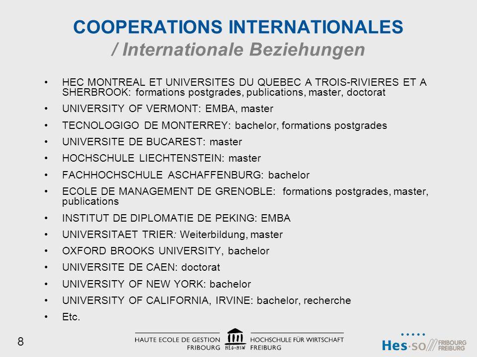 COOPERATIONS INTERNATIONALES / Internationale Beziehungen HEC MONTREAL ET UNIVERSITES DU QUEBEC A TROIS-RIVIERES ET A SHERBROOK: formations postgrades, publications, master, doctorat UNIVERSITY OF VERMONT: EMBA, master TECNOLOGIGO DE MONTERREY: bachelor, formations postgrades UNIVERSITE DE BUCAREST: master HOCHSCHULE LIECHTENSTEIN: master FACHHOCHSCHULE ASCHAFFENBURG: bachelor ECOLE DE MANAGEMENT DE GRENOBLE: formations postgrades, master, publications INSTITUT DE DIPLOMATIE DE PEKING: EMBA UNIVERSITAET TRIER: Weiterbildung, master OXFORD BROOKS UNIVERSITY, bachelor UNIVERSITE DE CAEN: doctorat UNIVERSITY OF NEW YORK: bachelor UNIVERSITY OF CALIFORNIA, IRVINE: bachelor, recherche Etc.