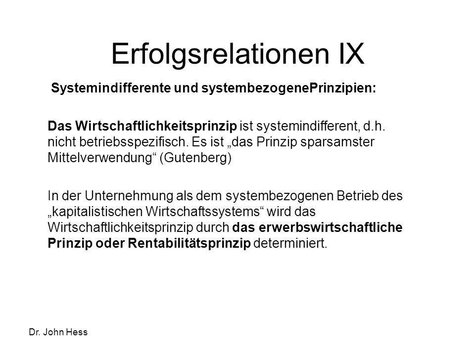 Dr. John Hess Erfolgsrelationen IX Systemindifferente und systembezogenePrinzipien: Das Wirtschaftlichkeitsprinzip ist systemindifferent, d.h. nicht b