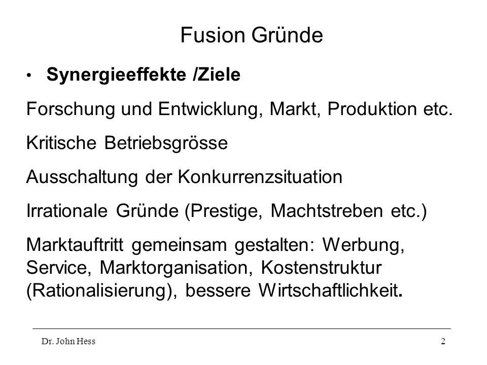 Dr. John Hess2 Fusion Gründe Synergieeffekte /Ziele Forschung und Entwicklung, Markt, Produktion etc. Kritische Betriebsgrösse Ausschaltung der Konkur