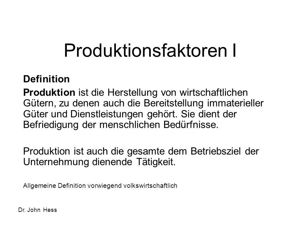 Dr. John Hess Produktionsfaktoren I Definition Produktion ist die Herstellung von wirtschaftlichen Gütern, zu denen auch die Bereitstellung immateriel