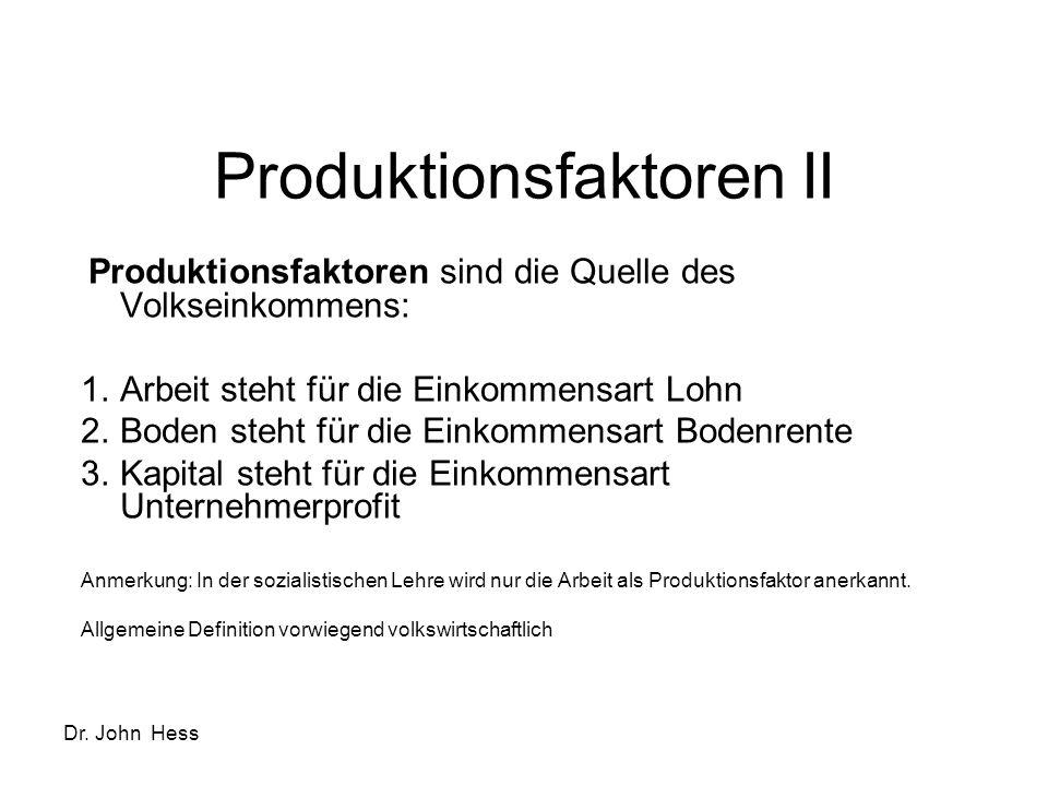Dr. John Hess Produktionsfaktoren II Produktionsfaktoren sind die Quelle des Volkseinkommens: 1.Arbeit steht für die Einkommensart Lohn 2.Boden steht
