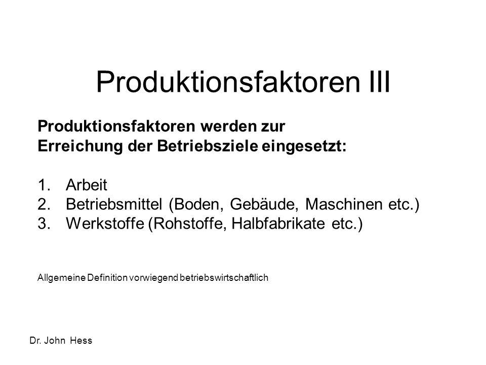 Dr. John Hess Produktionsfaktoren III Produktionsfaktoren werden zur Erreichung der Betriebsziele eingesetzt: 1.Arbeit 2.Betriebsmittel (Boden, Gebäud
