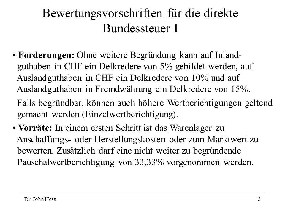 Dr. John Hess3 Bewertungsvorschriften für die direkte Bundessteuer I Forderungen: Ohne weitere Begründung kann auf Inland- guthaben in CHF ein Delkred