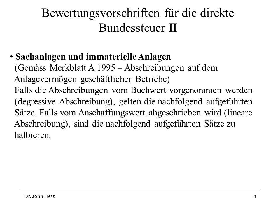 Dr. John Hess4 Bewertungsvorschriften für die direkte Bundessteuer II Sachanlagen und immaterielle Anlagen (Gemäss Merkblatt A 1995 – Abschreibungen a