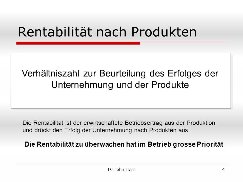Dr. John Hess4 Rentabilität nach Produkten Verhältniszahl zur Beurteilung des Erfolges der Unternehmung und der Produkte Die Rentabilität ist der erwi