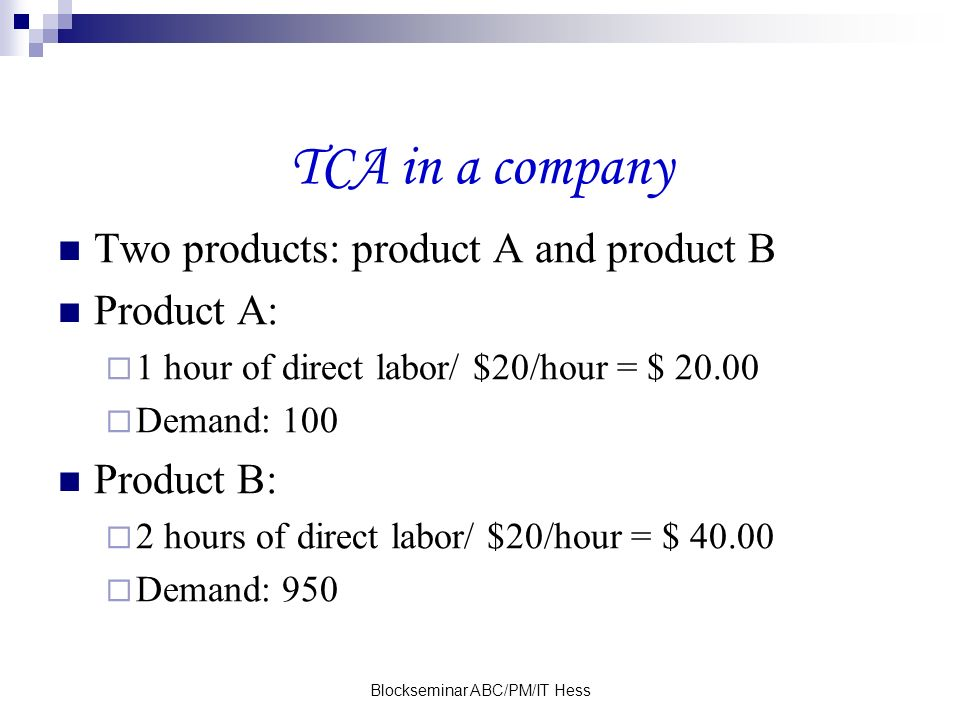 Blockseminar ABC/PM/IT Hess TCA in a company Two products: product A and product B Product A: 1 hour of direct labor/ $20/hour = $ 20.00 Demand: 100 Product B: 2 hours of direct labor/ $20/hour = $ 40.00 Demand: 950
