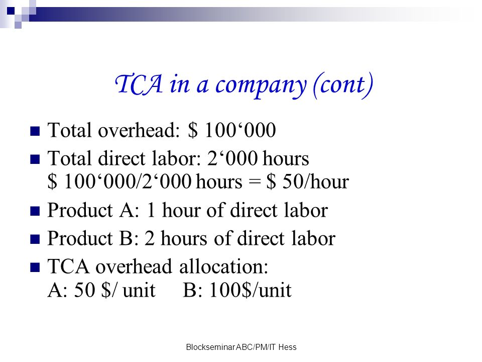 Blockseminar ABC/PM/IT Hess TCA in a company (cont) Total overhead: $ 100000 Total direct labor: 2000 hours $ 100000/2000 hours = $ 50/hour Product A: 1 hour of direct labor Product B: 2 hours of direct labor TCA overhead allocation: A: 50 $/ unit B: 100$/unit