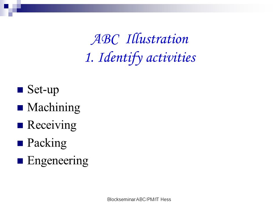 Blockseminar ABC/PM/IT Hess ABC Illustration 1. Identify activities Set-up Machining Receiving Packing Engeneering