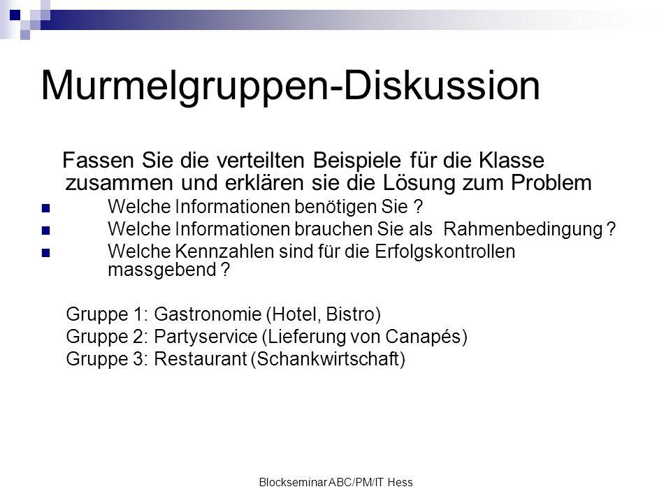 Blockseminar ABC/PM/IT Hess Murmelgruppen-Diskussion Fassen Sie die verteilten Beispiele für die Klasse zusammen und erklären sie die Lösung zum Problem Welche Informationen benötigen Sie .