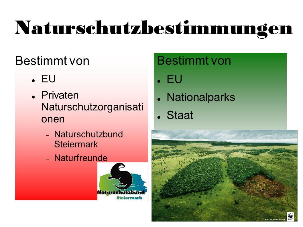 Naturschutzbestimmungen Bestimmt von EU Privaten Naturschutzorganisati onen Naturschutzbund Steiermark Naturfreunde Bestimmt von EU Nationalparks Staa