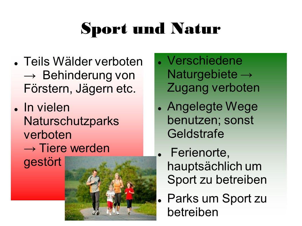 Sport und Natur Teils Wälder verboten Behinderung von Förstern, Jägern etc. In vielen Naturschutzparks verboten Tiere werden gestört Verschiedene Natu