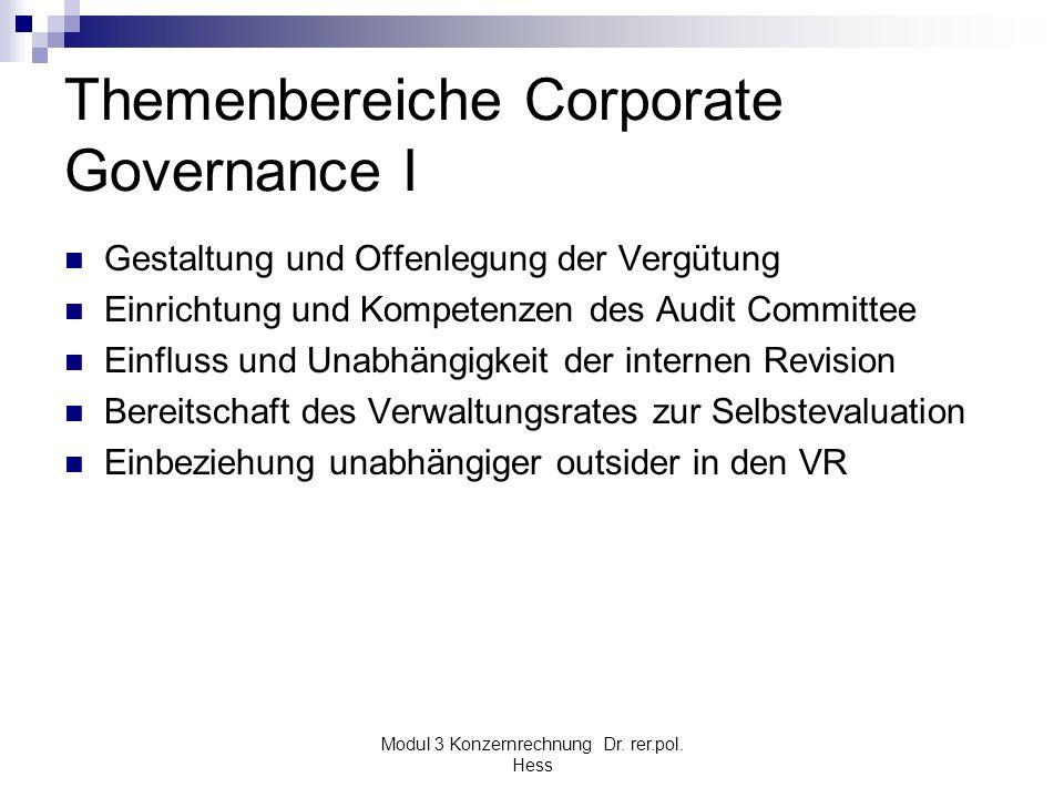 Modul 3 Konzernrechnung Dr. rer.pol. Hess Themenbereiche Corporate Governance I Gestaltung und Offenlegung der Vergütung Einrichtung und Kompetenzen d