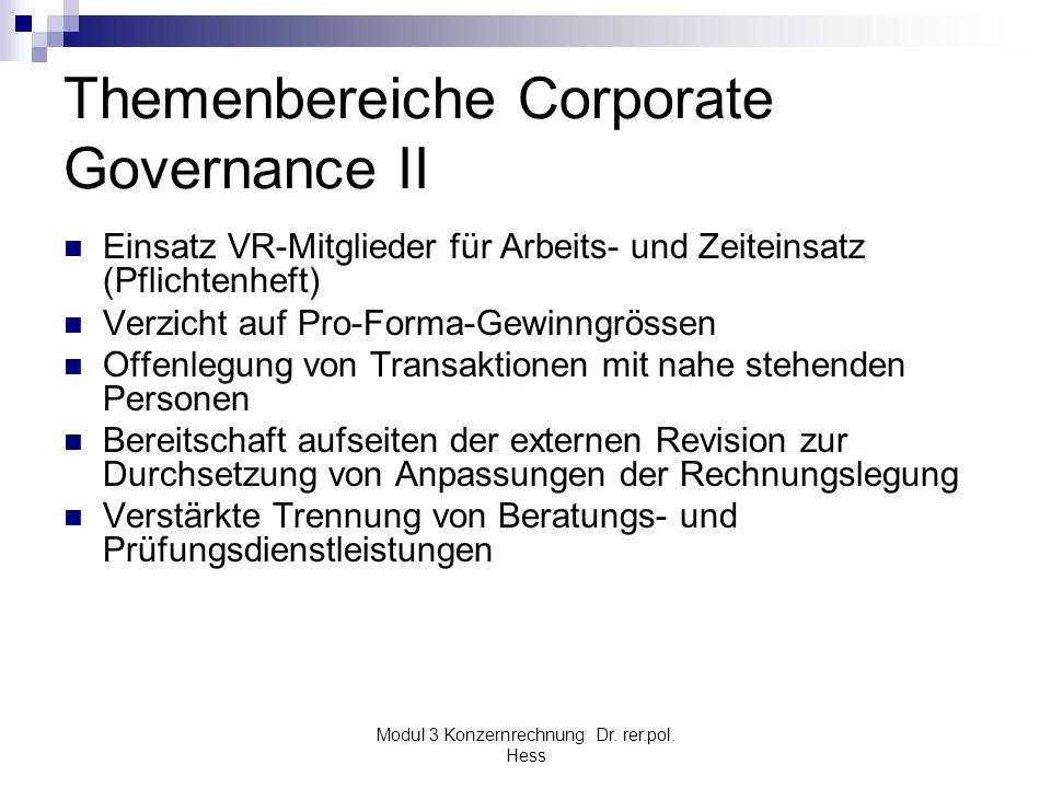 Modul 3 Konzernrechnung Dr. rer.pol. Hess Themenbereiche Corporate Governance II Einsatz VR-Mitglieder für Arbeits- und Zeiteinsatz (Pflichtenheft) Ve