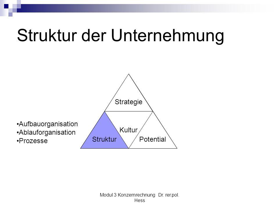 Modul 3 Konzernrechnung Dr. rer.pol. Hess Struktur der Unternehmung Kultur Struktur Strategie Potential Aufbauorganisation Ablauforganisation Prozesse