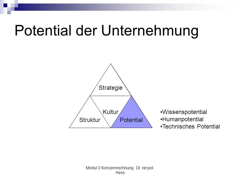 Modul 3 Konzernrechnung Dr. rer.pol. Hess Potential der Unternehmung Kultur Struktur Strategie Potential Wissenspotential Humanpotential Technisches P