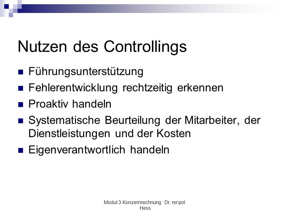 Modul 3 Konzernrechnung Dr. rer.pol. Hess Nutzen des Controllings Führungsunterstützung Fehlerentwicklung rechtzeitig erkennen Proaktiv handeln System