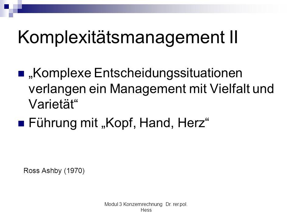 Modul 3 Konzernrechnung Dr. rer.pol. Hess Komplexitätsmanagement II Komplexe Entscheidungssituationen verlangen ein Management mit Vielfalt und Variet