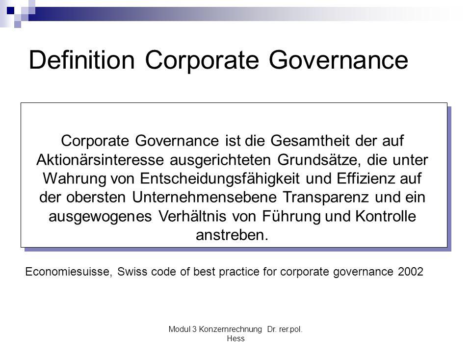 Modul 3 Konzernrechnung Dr. rer.pol. Hess Definition Corporate Governance Corporate Governance ist die Gesamtheit der auf Aktionärsinteresse ausgerich