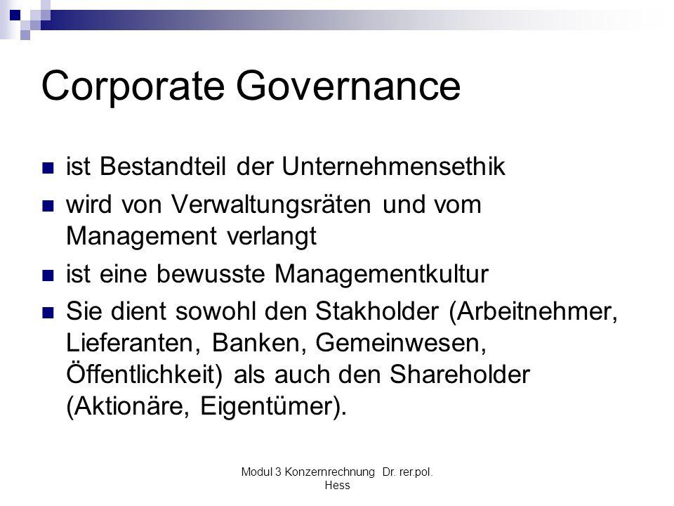 Modul 3 Konzernrechnung Dr. rer.pol. Hess Corporate Governance ist Bestandteil der Unternehmensethik wird von Verwaltungsräten und vom Management verl