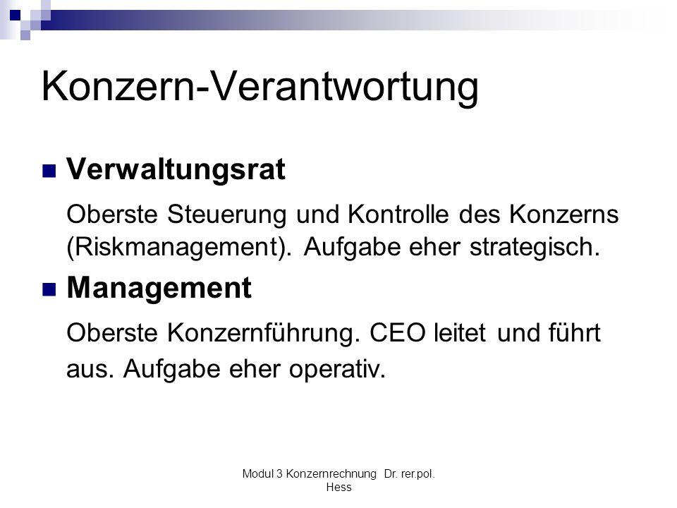 Modul 3 Konzernrechnung Dr. rer.pol. Hess Konzern-Verantwortung Verwaltungsrat Oberste Steuerung und Kontrolle des Konzerns (Riskmanagement). Aufgabe
