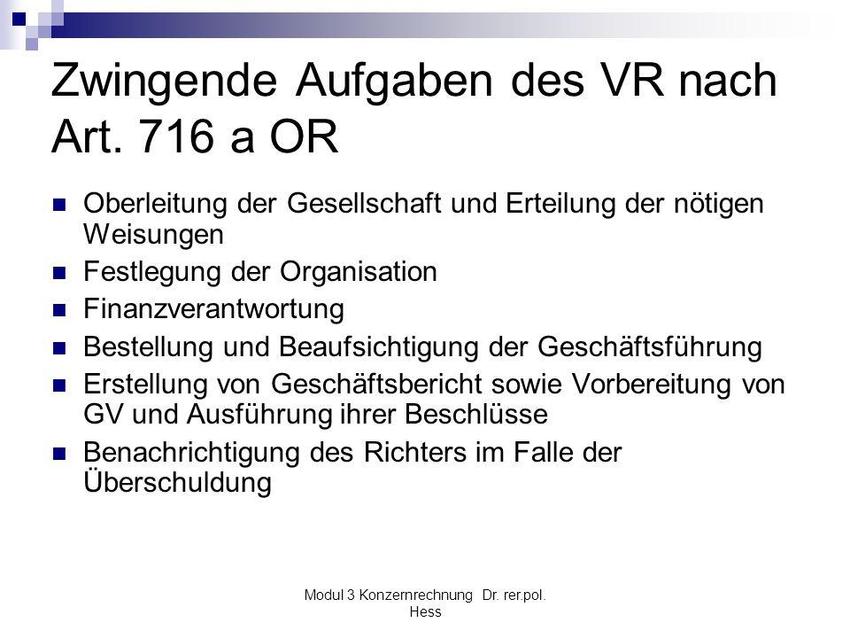 Modul 3 Konzernrechnung Dr. rer.pol. Hess Zwingende Aufgaben des VR nach Art. 716 a OR Oberleitung der Gesellschaft und Erteilung der nötigen Weisunge