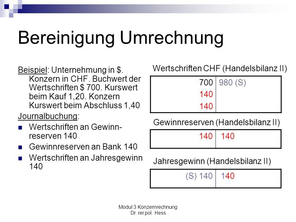 Modul 3 Konzernrechnung Dr. rer.pol. Hess Bereinigung Umrechnung Beispiel: Unternehmung in $. Konzern in CHF. Buchwert der Wertschriften $ 700. Kurswe
