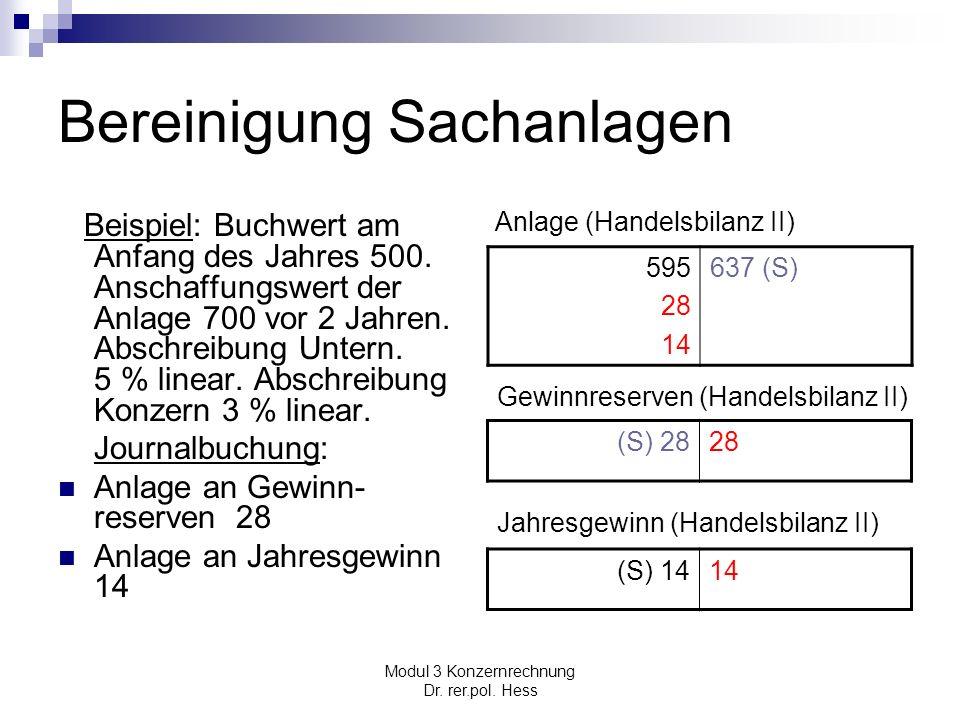 Modul 3 Konzernrechnung Dr. rer.pol. Hess Bereinigung Sachanlagen Beispiel: Buchwert am Anfang des Jahres 500. Anschaffungswert der Anlage 700 vor 2 J