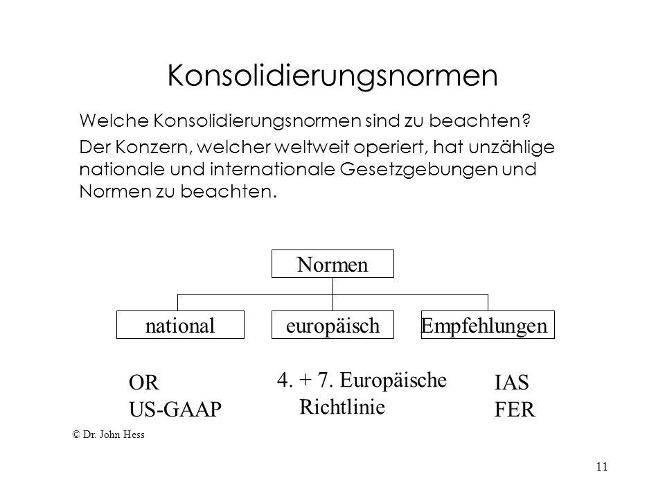 11 Konsolidierungsnormen Welche Konsolidierungsnormen sind zu beachten? Der Konzern, welcher weltweit operiert, hat unzählige nationale und internatio