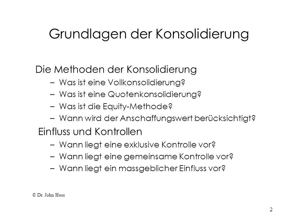2 Grundlagen der Konsolidierung Die Methoden der Konsolidierung – Was ist eine Vollkonsolidierung? – Was ist eine Quotenkonsolidierung? – Was ist die