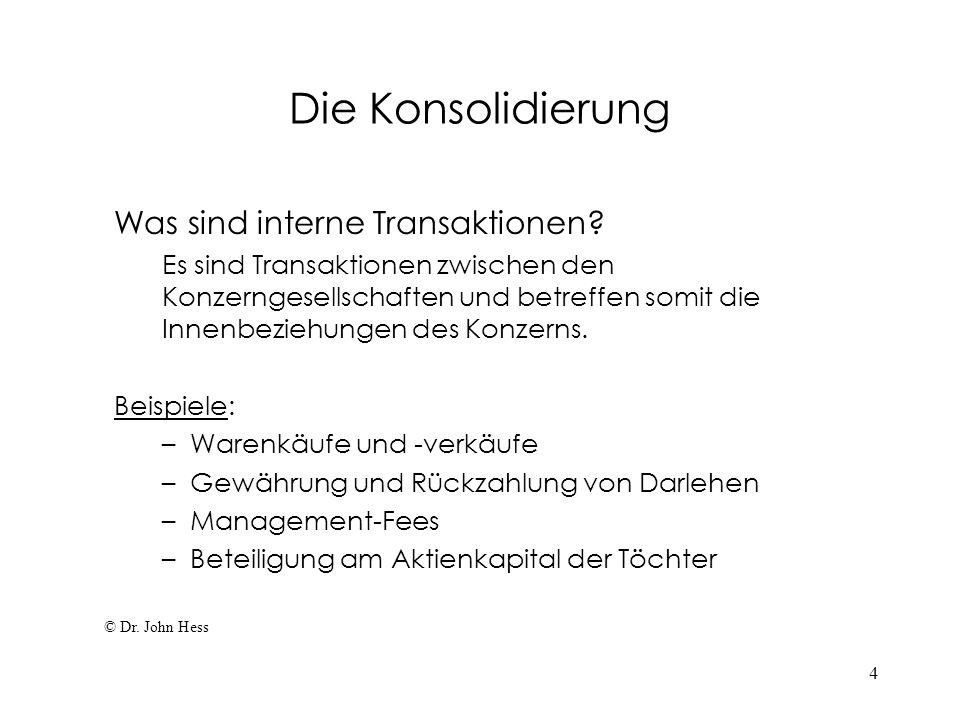 4 Die Konsolidierung Was sind interne Transaktionen? Es sind Transaktionen zwischen den Konzerngesellschaften und betreffen somit die Innenbeziehungen
