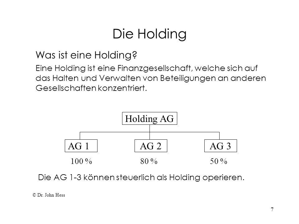 7 Die Holding Was ist eine Holding? Eine Holding ist eine Finanzgesellschaft, welche sich auf das Halten und Verwalten von Beteiligungen an anderen Ge