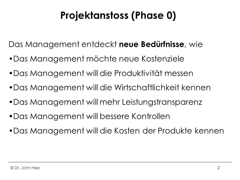 © Dr. John Hess2 Projektanstoss (Phase 0) Das Management entdeckt neue Bedürfnisse, wie Das Management möchte neue Kostenziele Das Management will die