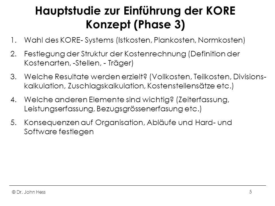 © Dr. John Hess5 Hauptstudie zur Einführung der KORE Konzept (Phase 3) 1.Wahl des KORE- Systems (Istkosten, Plankosten, Normkosten) 2.Festlegung der S