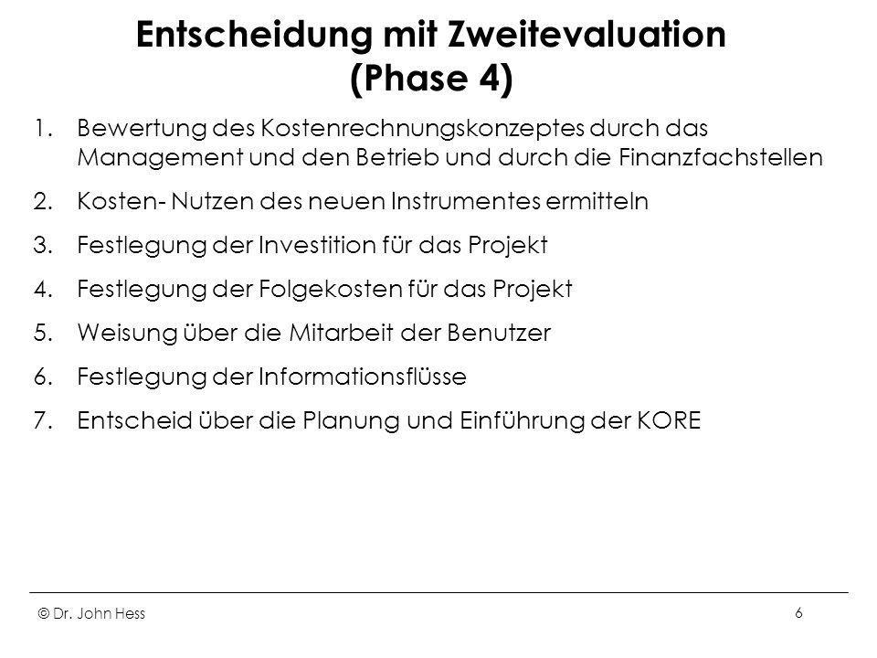 © Dr. John Hess6 Entscheidung mit Zweitevaluation (Phase 4) 1.Bewertung des Kostenrechnungskonzeptes durch das Management und den Betrieb und durch di