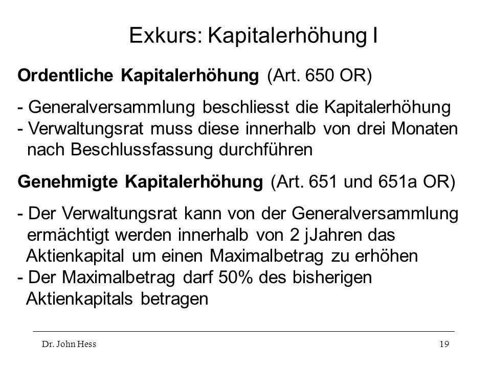 Dr. John Hess19 Exkurs: Kapitalerhöhung I Ordentliche Kapitalerhöhung (Art. 650 OR) - Generalversammlung beschliesst die Kapitalerhöhung - Verwaltungs