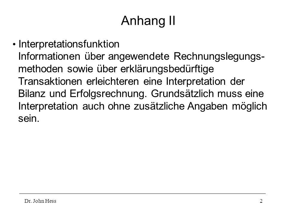 Dr. John Hess2 Anhang II Interpretationsfunktion Informationen über angewendete Rechnungslegungs- methoden sowie über erklärungsbedürftige Transaktion