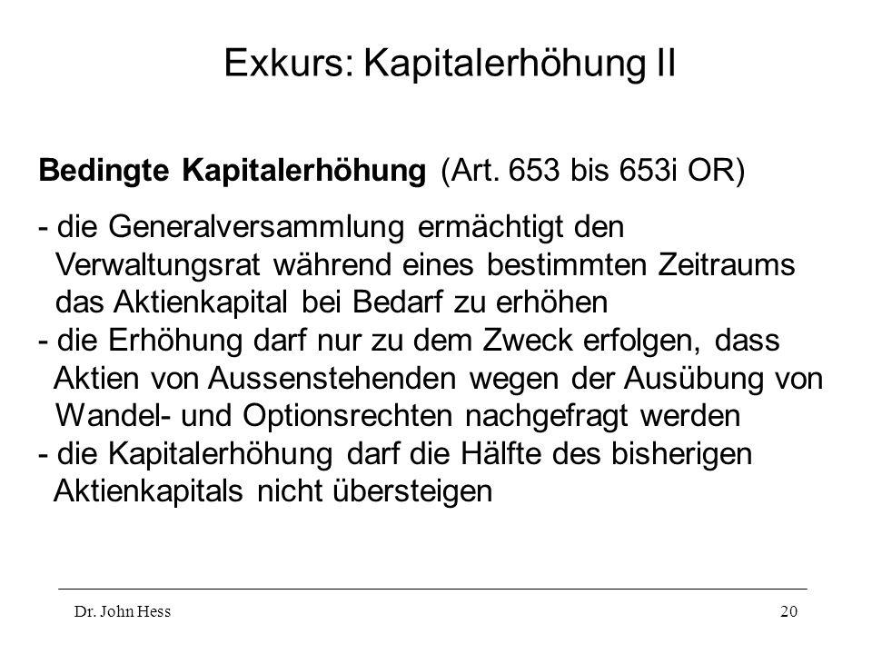Dr. John Hess20 Exkurs: Kapitalerhöhung II Bedingte Kapitalerhöhung (Art. 653 bis 653i OR) - die Generalversammlung ermächtigt den Verwaltungsrat währ