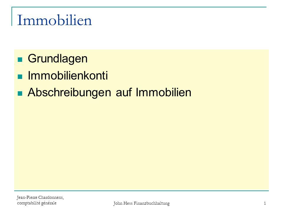 Jean-Pierre Chardonnens, comptabilité générale John Hess Finanzbuchhaltung 12 Immobilienabschreibungen...