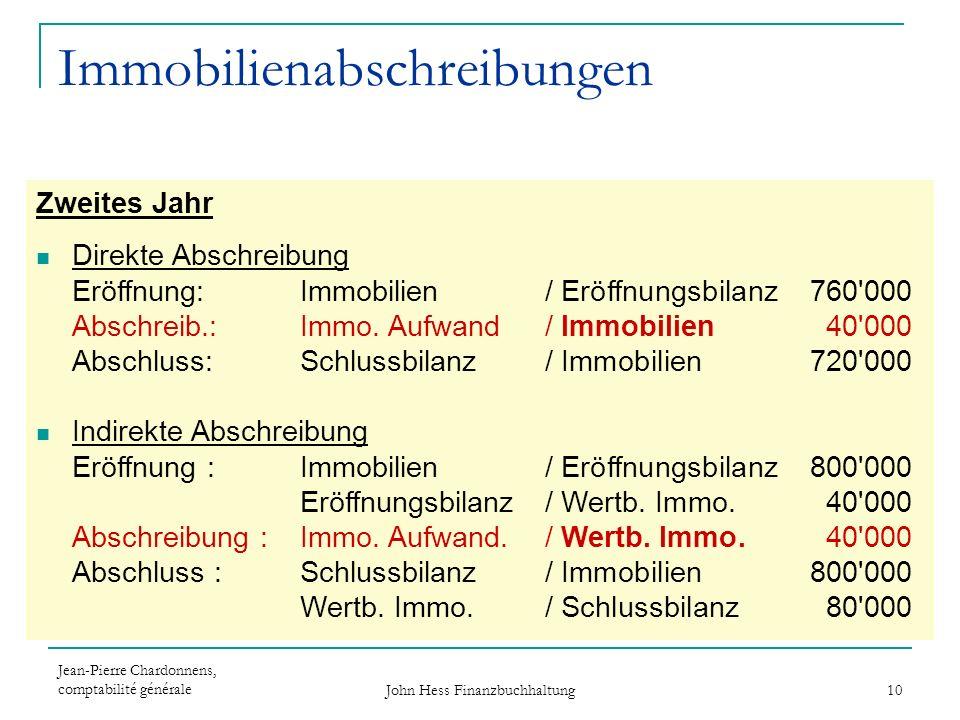 Jean-Pierre Chardonnens, comptabilité générale John Hess Finanzbuchhaltung 10 Immobilienabschreibungen Zweites Jahr Direkte Abschreibung Eröffnung: Im