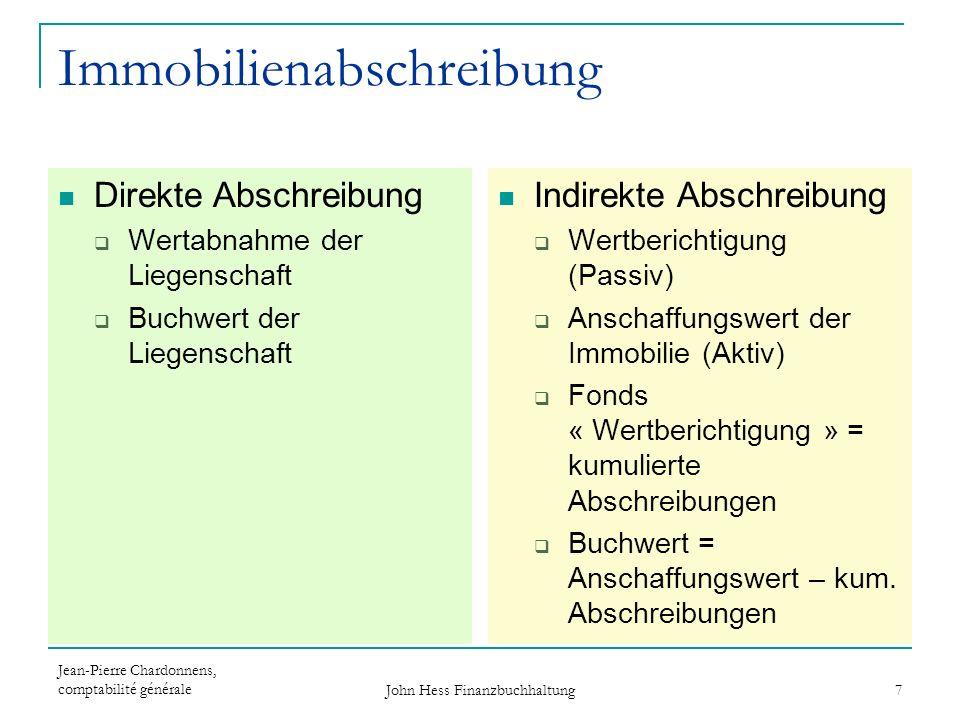 Jean-Pierre Chardonnens, comptabilité générale John Hess Finanzbuchhaltung 8 Immobilienabschreibungen Erstes Jahr Direkte Abschreibung Kauf : Immobilien / Liquide Mittel800 000 Abschreibung: Immo.