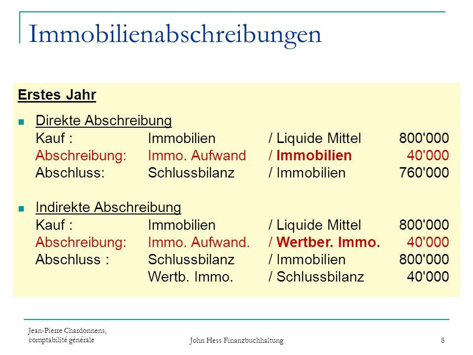 Jean-Pierre Chardonnens, comptabilité générale John Hess Finanzbuchhaltung 8 Immobilienabschreibungen Erstes Jahr Direkte Abschreibung Kauf : Immobili