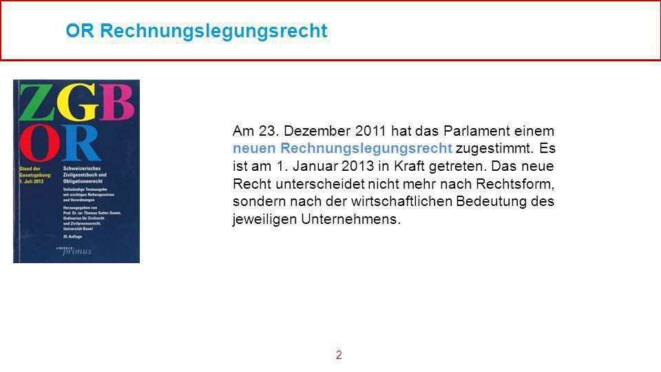 2 OR Rechnungslegungsrecht Am 23. Dezember 2011 hat das Parlament einem neuen Rechnungslegungsrecht zugestimmt. Es ist am 1. Januar 2013 in Kraft getr